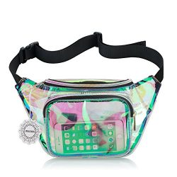 Water Resistant Shiny Neon Fanny Bag for Women Rave Festival Hologram Bum Travel Waist Pack (Cle ...