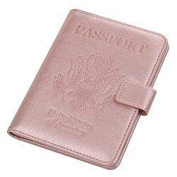 Vivefox Travel Passport Holder Cover, RFID Leather Passport Wallet Id Card Case Organizer (Rose  ...