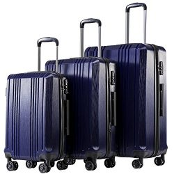 Coolife Luggage Expandable Suitcase 3 Piece Set with TSA Lock Spinner 20in24in28in (navy4)