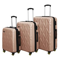 3 PC Luggage Set Durable Lightweight Hard Case Spinner Suitecase LUG3 SS505A CHAMPAGNE