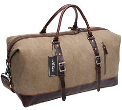 Iblue Genuine Leather Trim Travel Tote Duffel Garment Gym Shoulder Handbag Canvas Overnight Week ...