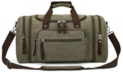 Canvas Duffel Bag, Aidonger Vintage Canvas Weekender Bag Travel Bag Sports Duffel with Shoulder  ...