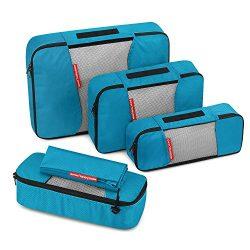 Travel Packing Cubes, Gonex Luggage Organizers L+2S+Slim+Laundry Bag Blue