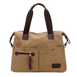 Lonson Unisex Canvas Shoulder Bag Big Travel Handbag Weekend Tote Bag (Khaki)