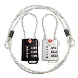 TSA Approved Cable Luggage Locks plus Bonus 4 Foot Steel Cables Lumintrail Combination Travel Se ...