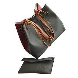 Women Leather Litchi Stria Handbag Bucket Bag Shoulder Bag+Messenger Bag (42cm(L)18cm(W)30cm(H), ...