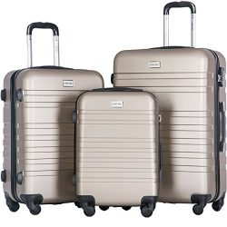 Merax Luggages 3 Piece Luggage Set Lightweight Spinner Suitcase (Champagne)
