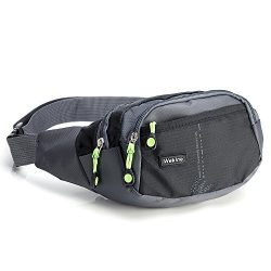 Wekine Lightweight Waist Bag with 4 Zipper Pockets, Fanny Pack/Bum Bag with Adjustable Belt Stra ...