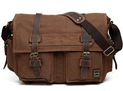 Berchirly Men Vintage Military Canvas Messenger Bag for 17.3inch Laptop