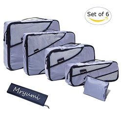 Mryumi Storage Travel Packing Organizers Cubes Luggage Compression 6 Set Pouches with Laundry Ba ...