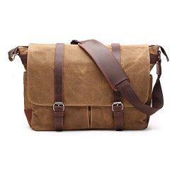 H-ANDYBAG 15 Inch Shoulder Laptop Bag Waxed Canvas Messenger Bag for Men (Khaki)