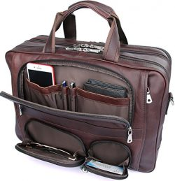 Iswee Genuine Leather Laptop Messenger Bag Business Briefcase Travel Duffel Luggage Bag (Large S ...