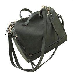 AutumnFall Women Messenger Vintage Nubuck Leather Motorcycle Retro Shoulder Bags (Green)