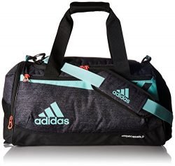 adidas 200265 Team Issue Duffel Bag, Small, Black Jersey/Energy Aqua/Lucid Red