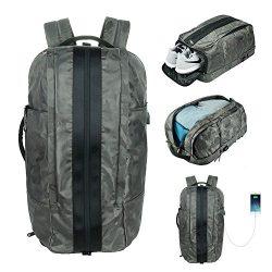 LA PAIX Gym Laptop Backpack CAMO Duffel Travel Bag Luggage Separate shoes Latop comparment USB c ...