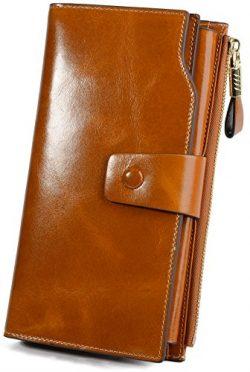 YALUXE Women's Wax Genuine Leather RFID Blocking Large Capacity Luxury Clutch Wallet Card  ...