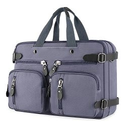 Plambag Canvas Briefcase Backpack, Convertible 15″ Laptop Messenger Bag(Purple)