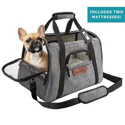 Airline Approved Pet Carrier – Soft Sided Portable Travel Bag with Mesh Windows and Fleece ...