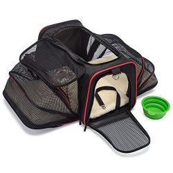 mypal Expandable Soft Pet Carrier, Airline Approved Carrier For Easy Carry On Luggage. For Small ...