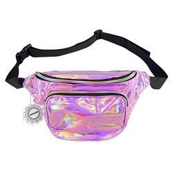 Water Resistant Shiny Neon Fanny Bag for Women Rave Festival Hologram Bum Travel Waist Pack (Lig ...