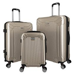 3 PC Luggage Set Durable Lightweight Spinner Suitecase LUG3 GL8216 CHAMPAGNE