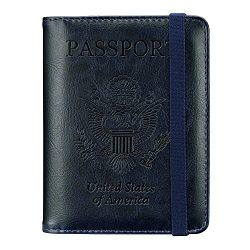 Passport Holder Travel Cover Case – HOTCOOL Leather RFID Blocking Wallet For Passport (Nav ...