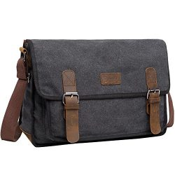 Canvas Messenger Shoulder Bag For Men, Berchirly 14 inch Laptop Bag Vintage Bookbag For School C ...