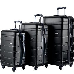 Merax MT Imagine Luggage Set 3 Piece Spinner Suitcase 20 24 28inch (Black)