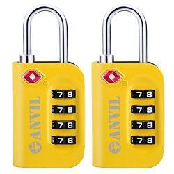 TSA Luggage Locks (2 Pack) – 4 Digit Combination Steel Padlocks – Approved Travel Lo ...