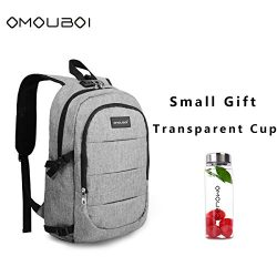 Laptop Backpack OMOUBOI Anti Theft Travel Backpack with Portable Cup School Computer Bag with US ...