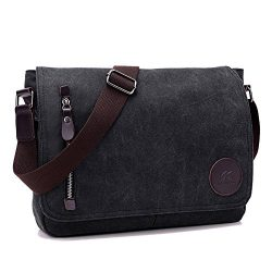 ELEOPTION Men's Canvas Messenger Backpack Crossbody Shoulder Bag for Working Business Hiki ...