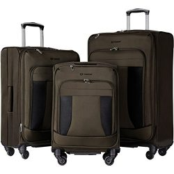 Travelhouse 3 Piece Luggage Set Softshell Deluxe Expandable Spinner Suitcase(Brownish Green and  ...