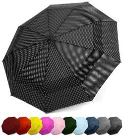 EEZ-Y Compact Travel Umbrella w/Windproof Double Canopy Construction – Auto Open/Close Button