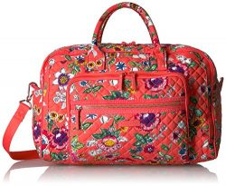 Vera Bradley Women's Iconic Compact Weekender Travel Bag-Signature, Coral Floral