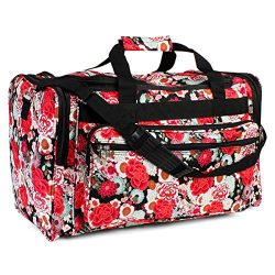 Riah Fashion Women's Cute Print Duffel Bag (Red Floral)