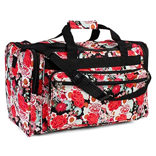 Riah Fashion Womenu0026#39;s Cute Print Duffel Bag (Red Floral) - LuggageBee   LuggageBee