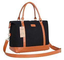 Ulgoo Travel Tote Bag Carry On Shoulder Bag Overnight Duffel in Trolley Handle (Black)