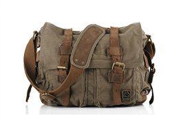 Sechunk Sechunk Canvas Leather Messenger Bag Shoulder Bag Cross Body Bag For Men Military Travel ...