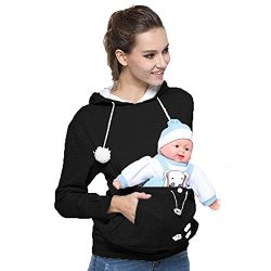 Womens Pet Hoodies Kangaroo Pocket Sweatshirt, Long Sleeve Sweatshirt Kitten Dog Carriers Plus S ...