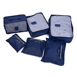 7 Set Packing Cubes Travel Luggage Organizers- Large Compression Storage Accessories for traveli ...