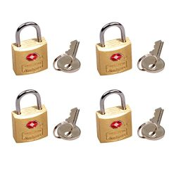 South Main Hardware 810106 TSA Approved Luggage Lock, Solid Brass, 3/4-Inch Wide Body, 4-Pack, S ...