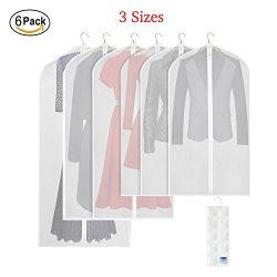 TESHILA 3 Sizes Clothes Garment Bags, PEVA Dust Proof Clothing Covers Pack of 6 Clear Breathable ...