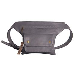 Badiya Couples Multifunction Black PU Leather Waist Packs with Cell Phone Pouch (Grey)