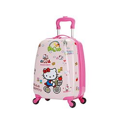 18″ Kids' Luggage Upright Hardside Carry On Spinner Luggage, Kitty
