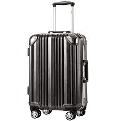 Coolife Luggage Aluminium Frame Suitcase with TSA Lock 100% PC (S(20in), Black)