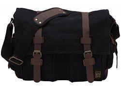 Berchirly Retro Unisex Canvas Leather Messenger Shoulder Bag Fits 17.3″ Laptop-Back to School