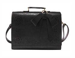ECOSUSI Ladies PU Leather Laptop Bag Briefcase Crossbody Messenger Bags Satchel Purse Fit 14R ...