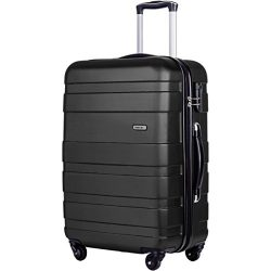 Merax Aphro 20inch Carry On Luggage Lightweight ABS Spinner Suitcase (Black)