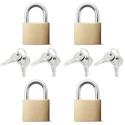 Arology 2 Sets of 2 Pack Brass Padlock (Total 4 Padlocks) 25MM with 2 Keys Each Lock, Safety and ...