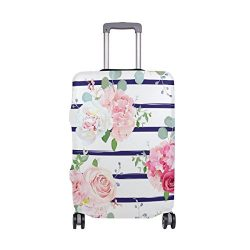 Spring Summer Floral Roses Flowers Striped Suitcase Luggage Cover Protector for Travel Kids Men  ...